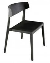 Lekker stablestol i sort kunststoff, UV-behandlet for utendørs bruk, modell MS03, NY/UBRUKT