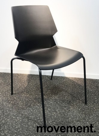 Stablebar konferansestol i sort, sortlakkerte ben i metall, modell Lycra MS02-A, NY/UBRUKT bilde 2