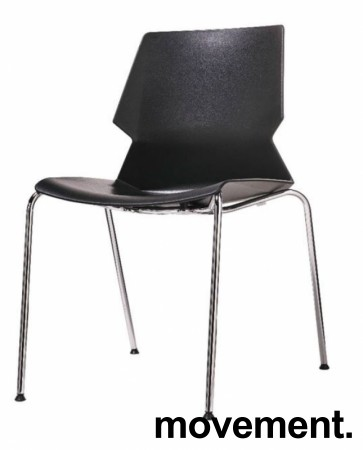 Stablebar konferansestol i sort, sortlakkerte ben i metall, modell Lycra MS02-A, NY/UBRUKT bilde 1