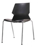 Stablebar konferansestol i sort, sortlakkerte ben i metall, modell Lycra MS02-A, NY/UBRUKT