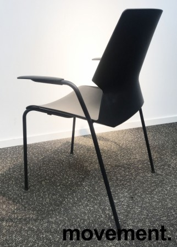 Stablebar konferansestol i sort, sortlakkerte ben i metall, armlene, modell Lycra MS02-F, NY/UBRUKT bilde 3