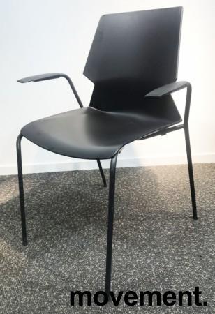 Stablebar konferansestol i sort, sortlakkerte ben i metall, armlene, modell Lycra MS02-F, NY/UBRUKT bilde 2