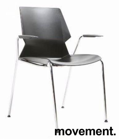 Stablebar konferansestol i sort, sortlakkerte ben i metall, armlene, modell Lycra MS02-F, NY/UBRUKT bilde 1