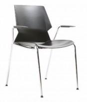 Stablebar konferansestol i sort, sortlakkerte ben i metall, armlene, modell Lycra MS02-F, NY/UBRUKT