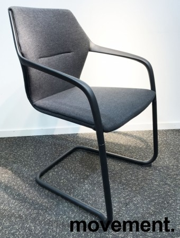 Konferansestol i grått/sort, sortlakkert ramme i metall, armlener, modell A9116, NY/UBRUKT bilde 1