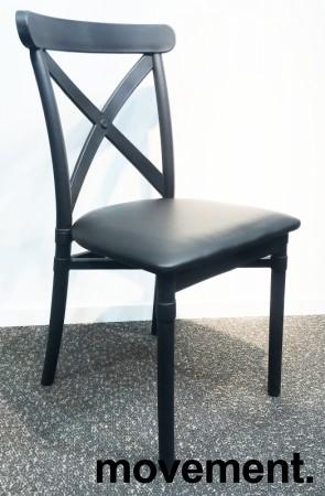 Kafestol i sort støpeplast, setetrekk i sort kunstlær, modell MS42, NY/UBRUKT bilde 2