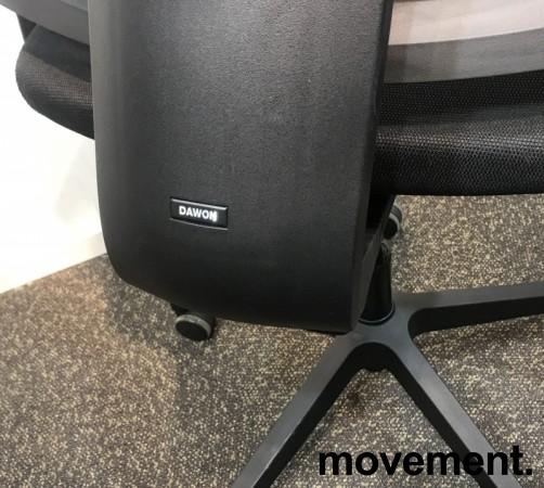 Komfortabel kontorstol i sort fra Dawon, Korea, G1, høy lift, høy rygg, armlener, nakkepute i PU, NY/UBRUKT bilde 6