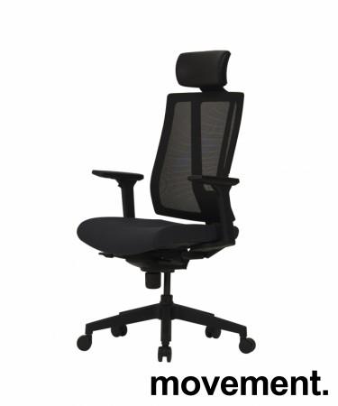 Komfortabel kontorstol i sort fra Dawon, Korea, G1, høy lift, høy rygg, armlener, nakkepute i PU, NY/UBRUKT bilde 8