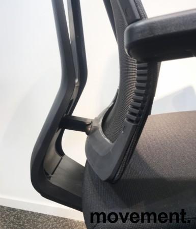 Komfortabel kontorstol i sort fra Dawon, Korea, G1, høy lift, høy rygg, armlener, nakkepute i PU, NY/UBRUKT bilde 5
