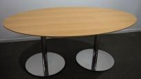 Møtebord / konferansebord i bøk / krom, 180x110cm, passer 6-8personer, brukt