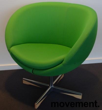 ForaForm Planet Loungestol i grønt stoff/krom, design: Svein Ivar Dysthe, Norsk klassiker, pent brukt bilde 1