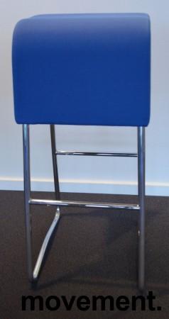 Materia Plint barpall / barkrakk i blått stoff krom, pent brukt bilde 1
