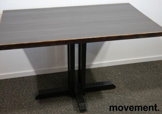 Kafebord med bordplate i brunt / understell i sortlakkert metall, 120x70cm bordplate, 76cm høyde, pent brukt bilde 1