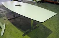 Møtebord / konferansebord i hvitt med sort kant / krom fra Svenheim, 240x90cm, 6-8personer, pent brukt