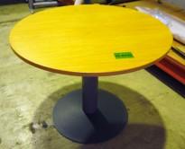 Kinnarps E-serie rundt bord, eik / grå søylefot, Ø=90 cm, 72cm høyde, pent brukt