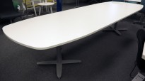 Kinnarps T-serie møtebord / konferansebord i hvitt / grått, 360x120cm, passer 12-14personer, pent brukt understell med ny plate