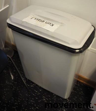 Smalt søppelspann / søppelbøtte i grå plast med lokk, 58,5cm høyde, pent brukt