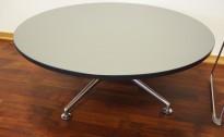 Loungebord i grått / polert aluminium fra Brunner, Ø=100cm, høyde 40cm, pent brukt