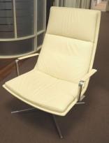 Loungestol, Arper Catifa 70 soft, hvitt skinn, polert aluminium understell, pent brukt