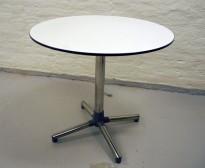 Lite, rundt møtebord fra ForaForm, Next-serie, hvit plate, Ø=80 cm H= 72 cm, pent brukt