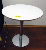 Lite, rundt møtebord, hvit plate, krom understell, Ø=70cm, H=73cm, pent brukt