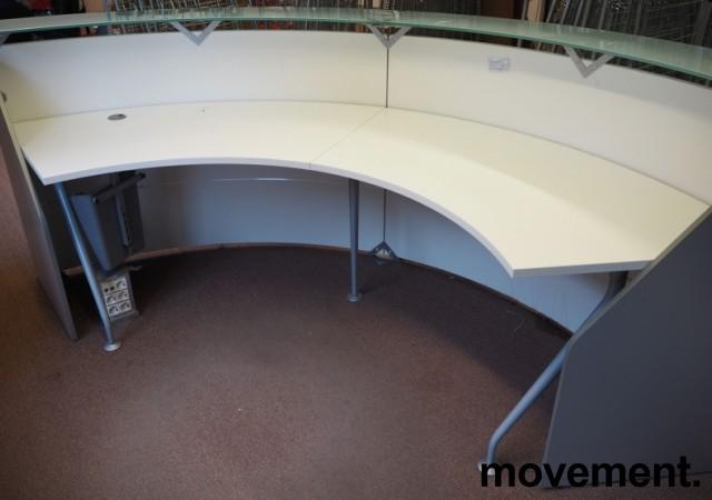 Resepsjon / kundemottak i hvitt / frostet glass, maxbredde 300cm, pent brukt bilde 3