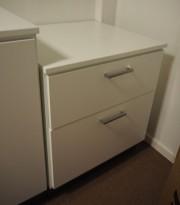 Printerskap / dypt skap i hvitt fra Trece med 2 skuffer, bredde 64cm, dybde 60cm, høyde 75cm, pent brukt