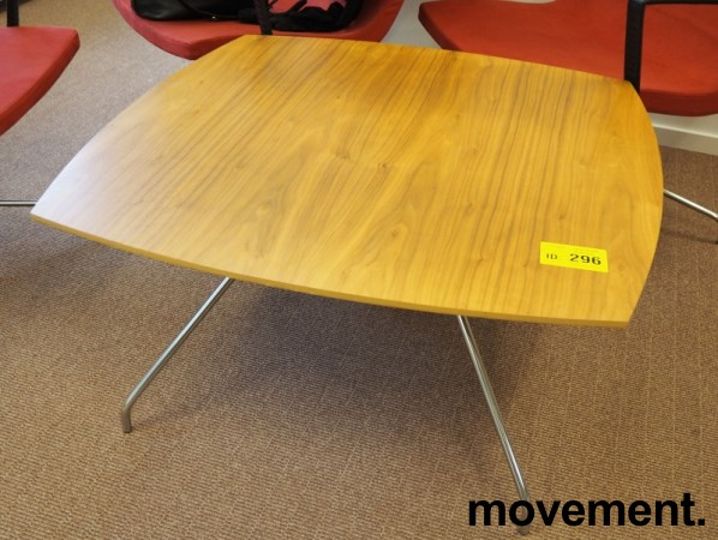 Loungebord i valnøtt / krom, 90x90cm, høyde 47cm, pent brukt bilde 2