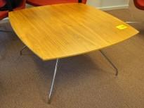 Loungebord i valnøtt / krom, 90x90cm, høyde 47cm, pent brukt
