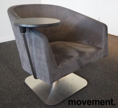 Loungstol / lenestol for stillerom e.l. i mørk grå mikrofiber, med bord, pent brukt bilde 3