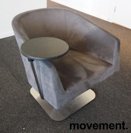 Loungstol / lenestol for stillerom e.l. i mørk grå mikrofiber, med bord, pent brukt bilde 2