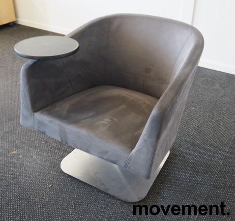 Loungstol / lenestol for stillerom e.l. i mørk grå mikrofiber, med bord, pent brukt bilde 1