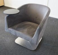 Loungstol / lenestol for stillerom e.l. i mørk grå mikrofiber, med bord, pent brukt