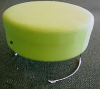 VAD Pivot rund puff / puffmodul i grønt stoff, Ø=68cm, pent brukt