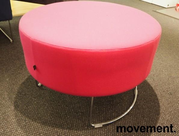 VAD Pivot rund puff / puffmodul i rosa stoff, Ø=68cm, pent brukt bilde 1