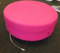 VAD Pivot rund puff / puffmodul i rosa stoff, Ø=68cm, pent brukt