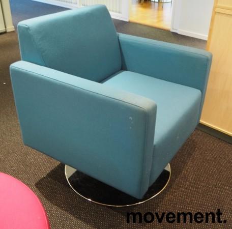 Loungstol / lenestol i sjøgrønt stoff fra VAD, pent brukt bilde 1