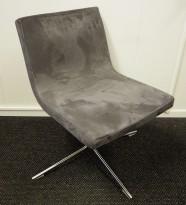 Konferansestol / besøksstol i mørk grå mikrofiber fra Offecct, modell Bond, pent brukt