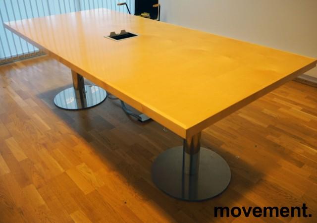 Møtebord i bjerk / krom 220x100cm, passer 6-8 personer, brukt bilde 2