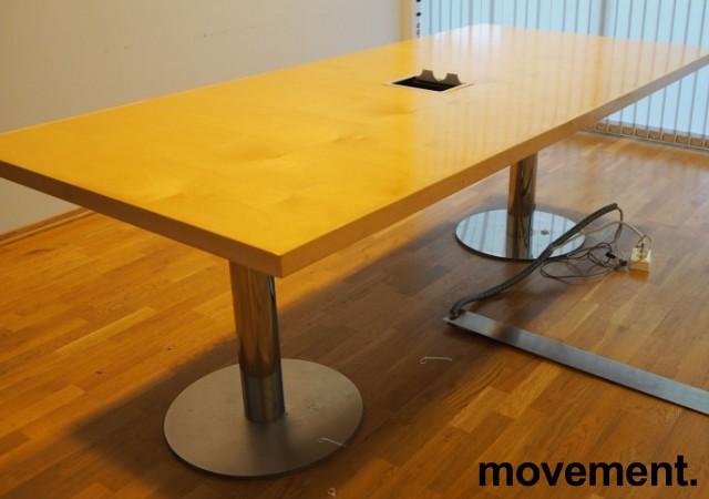 Møtebord i bjerk / krom 220x100cm, passer 6-8 personer, brukt bilde 1