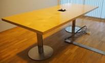 Møtebord i bjerk / krom 220x100cm, passer 6-8 personer, brukt