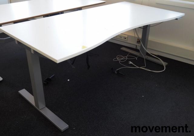 Skrivebord med elektrisk hevsenk i hvitt / grått fra SA Möbler, 180x90cm, pent brukt bilde 1