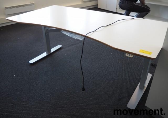 Skrivebord med elektrisk hevsenk i hvitt / grått fra Edsbyn, 180x90cm, pent brukt bilde 1