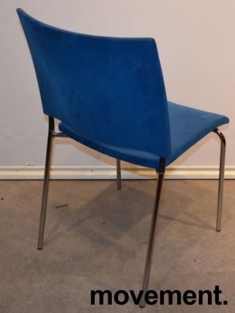 Konferansestol fra Lammhults, modell SPIRA, i blå mikrofiber / krom, pent brukt bilde 2