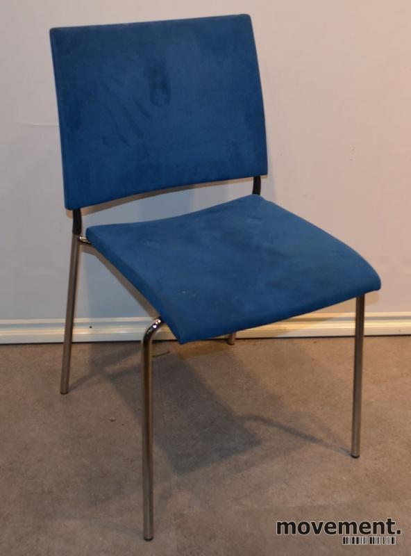 Konferansestol fra Lammhults, modell SPIRA, i blå mikrofiber / krom, pent brukt bilde 1