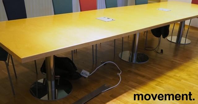 Møtebord i bjerk / krom, 420x110cm, passer 14-16 personer, pent brukt bilde 1