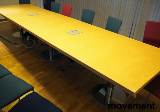 Møtebord i bjerk / krom, 420x110cm, passer 14-16 personer, pent brukt bilde 2