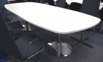 Møtebord i hvitt / krom, 280x120cm, passer 8-10 personer, pent brukt understell med ny plate
