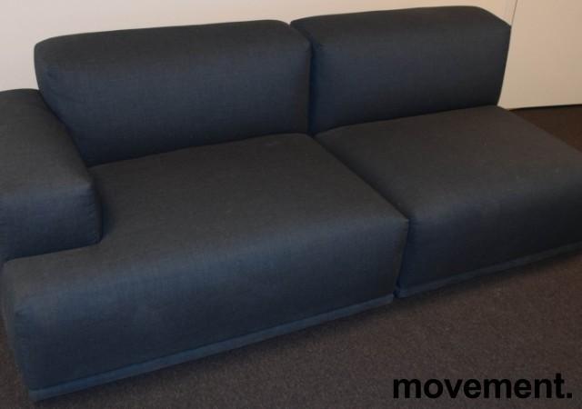 Muuto design-sofa, modell Connect modulsofa, 213cm bredde i stålblått stoff, pent brukt bilde 1
