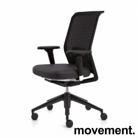 Vitra ID Mesh kontorstol i sort stoff / mesh rygg, armlener, sort kryss, pent brukt bilde 1
